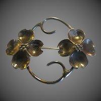 Art Nouveau Sterling Silver sweet Dog wood  Brooch