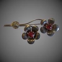 Vintage Art Nouveau Sterling Silver Brooch Floral