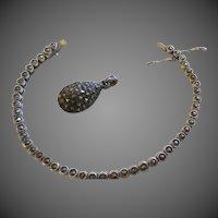 Vintage Sterling silver Marcasite Bracelet and Pendant