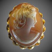 Vintage 10k gold Cameo Brooch Pendant