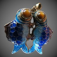 Vintage cloisonne enamel double sided tiger eye fish Pendant