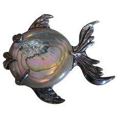 Vintage sterling silver mother pearl fish brooch