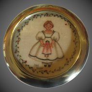 intage Original Theorem Painting by Virginia artist Jean Henry - child holding doll- framed