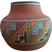 ON SALE >>Native American Indian Hand painted Artisan Vase