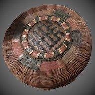 Antique Vantines Oriental Market  Newyork Label Pine Needle Basket