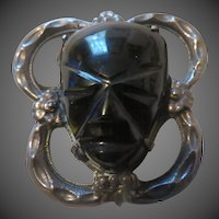 Vintage Onyx and Sterling Silver Large mask Brooch