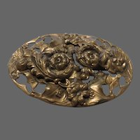 Antique repousse 19c heavily decorated ornate gold wash Brooch