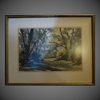Original Tad Klodnicki Vintage water color signed listed artist