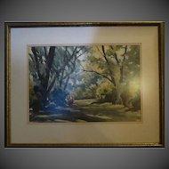 Original Tad Klodnicki Vintage water color signed listed artist