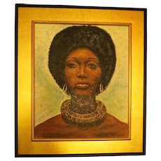 Vintage 1970s Original Oil Painting African American Womans Portrait with Afro