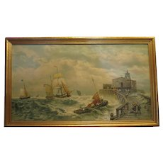 1920's Italian A.Borsari da R. Fontana Art Deco canvas print RARE Ship Scene