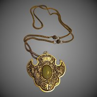 Vintage Jade stone old Chinese Unusual Necklace