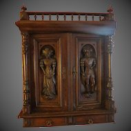 Antique German Medieval hand carved early cupboard Shrine