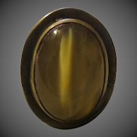 VINTAGE Rafael Canada Modernist Hand Crafted 1970's tiger eye Cabochon Adjustable Ring