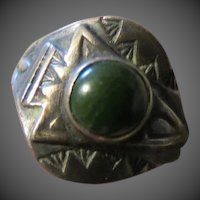 Vintage Native American Indian Sterling and Turquoise Ring OLD PAWN