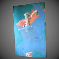 Meier Gallery 36x60 signed Harris 1979 ORIGINAL  Abstract Painting