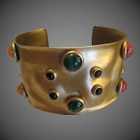 Vintage G.N. Buonanno Abstract Modernist Jeweled Dimensional jeweled cuff bracelet