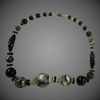 Early Antique Black Swirl Glass Beads Beaded Necklace