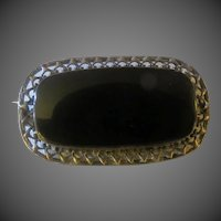 Sterling Silver & Onyx Antique Art Nouveau Brooch signed Germany