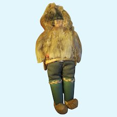 Inuit Eskimo doll early 1900s wood carved face