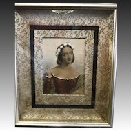 Antique engraving J.W Wright hand colored in oil Anne Page