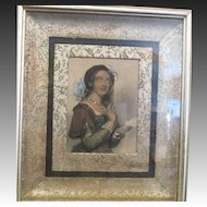 Antique engraving J.W Wright hand colored in oil