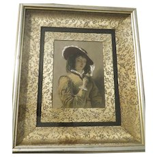 Antique engraving J.W Wright hand colored in oil Shakespeare's Merry wives of Windsor