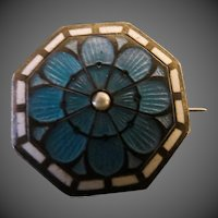 Antique Guilloche Enamel seed pearl Art Nouveau Pin