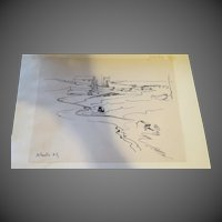 AYERS, Hester, (American, 1902-1975):Original  INK Drawing Estate of Hester Merwin Ayers Volusia County FL stamp verso