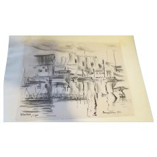 AYERS, Hester, (American, 1902-1975):Original  INK Boat Drawing Estate of Hester Merwin Ayers Volusia County FL stamp verso
