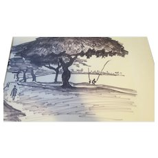AYERS, Hester, (American, 1902-1975):Original  INK Tree Drawing Estate of Hester Merwin Ayers Volusia County FL stamp verso