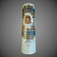 Bristol Glass Vase Victorian Children Jadite Antique Hand painted Portrait