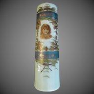 Bristol Glass Vase Victorian Children Jadite Antique Hand painted Portrait