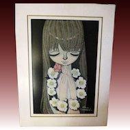 Vintage Original first edition White Camellia Shuzo Ikeda wood block Japanese Print 1969 43/100