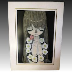 Vintage Original first edition White Camellia Shuzo Ikeda wood block Japanese Print 1969 43/100