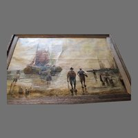 Old Oil painting signed Hennings Peasants on Fishing Boat