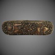 Antique Sterling Silver Repousse Victorian Belt Buckle