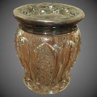 Antique Art Nouveau large cut Glass Jar Floral embossed Lid