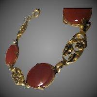 Antique Art Nouveau Carnelian Stone Bracelet