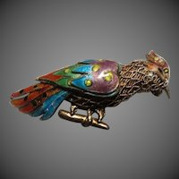 Antique Chinese Filigree Enamel Vermeil Silver Bird Necklace/Brooch