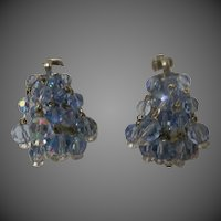 Vintage blue glass crystal earrings
