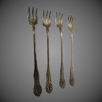 Beautiful Antique Early W. Rogers set of 4 shrimp forks