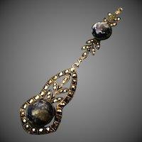 Antique Sterling Silver Art Nouveau  Lapis lazuli Lavalier Pendant