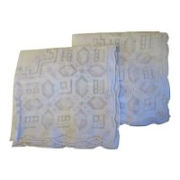Vintage pair  1920s hand made Lace Embroidered Hankies