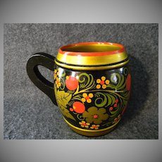 Decorative Folk Style Russian Mug & three Cups