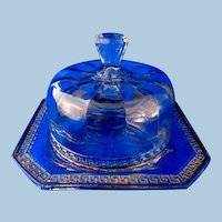 Tiffin or U.S. Glass Company  Lidded Butter or Cheese Keeper Dish