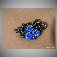 Pretty Multi Colored Rhinestone Brooch