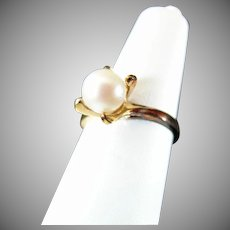 Brilliant Size 6  Cultured Pearl and Sterling Silver Dinner Ring