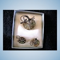 1945 Coro Broach and Earrings in Original Box