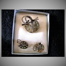 1945 Coro Broach and Earrings in Original Box